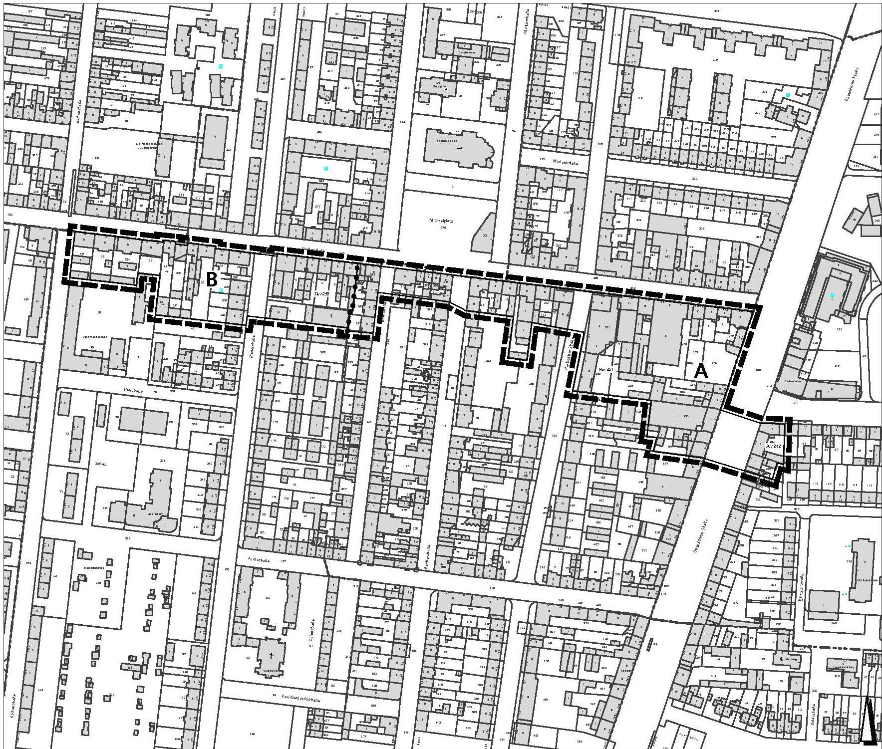 Der Bebauungsplan südlich der Fischerstraße reicht von der Eschenstraße im Westen bis zur Düsseldorfer Straße im Osten.