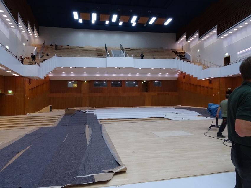 Baumaßnahmen neigen sich den Ende zu: Großer Saal der Mercatorhalle, Duisburgs Guter Stube. Foto: Petra Grünendahl.