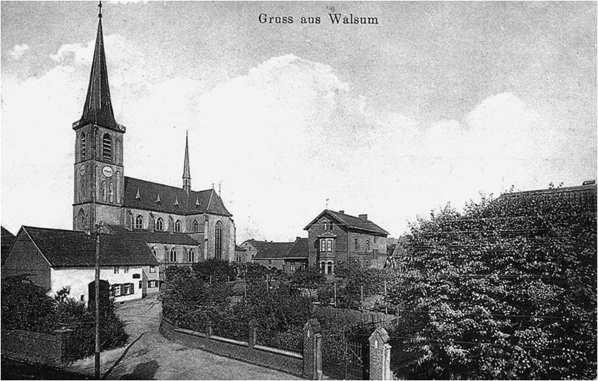 Die alte St.-Dionysius-Kirche in Walsum-Dorf um 1910. Foto: © Reinhold Stausberg / Sutton Verlag.