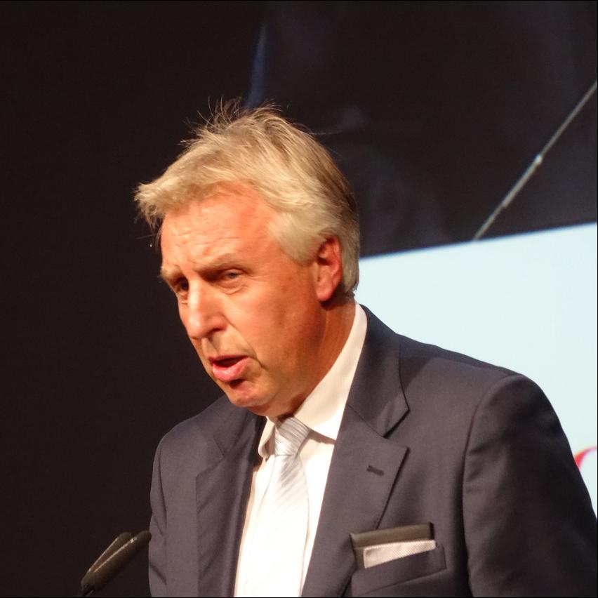 Eirch Staake, Vorstandsvorsitzender der Duisburger Hafen AG, beim Festakt zum 300-jährigen Hafenjubiläum. Foto: Petra Grünendahl.