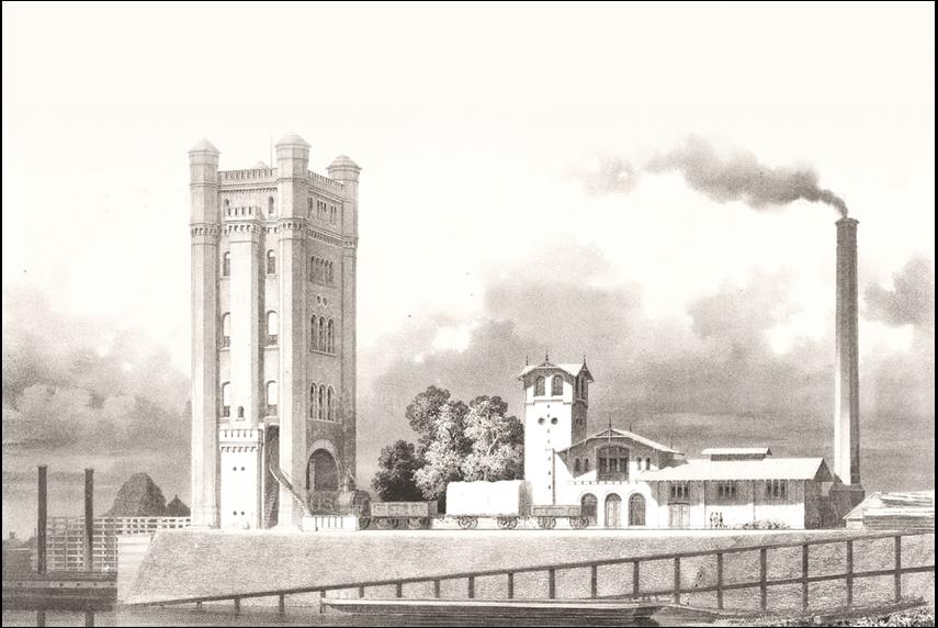 Trajektturm der Homberg-Ruhrorter Trajektanschalt: ganze Eisenbahnzüge konnten mit Hilfe einer Fähre über den Rhein gebracht werden.  Foto: Duisburger Hafen AG.