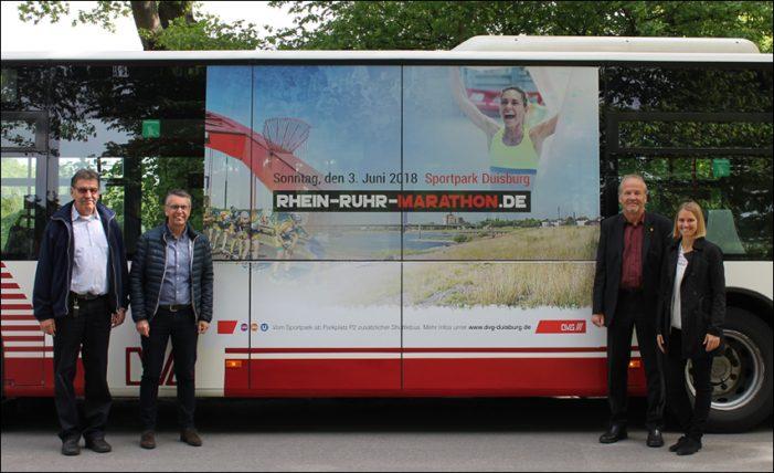 DVG bringt Bus im Design des 35. Rhein-Ruhr-Marathons an den Start