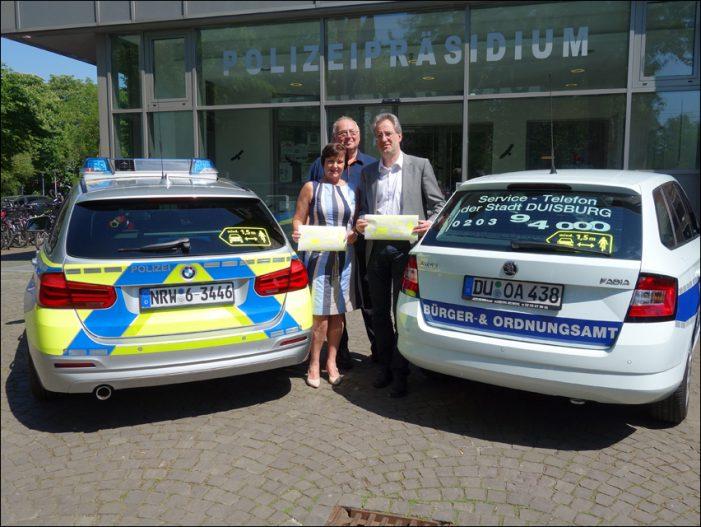 Aufkleber mahnen zum Seitenabstand von mindestens 1,5 Meter: Neue Verkehrssicherheitsaktion in Duisburg