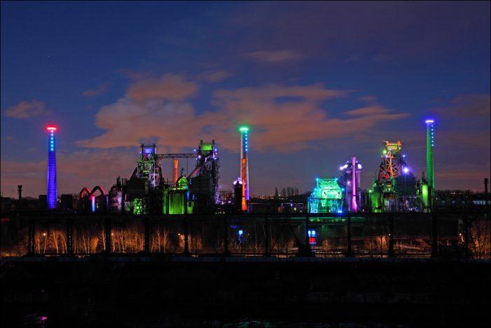 Lichtinstallation im Landschaftspark Duisburg-Nord über die Feiertage besonders oft zu sehen