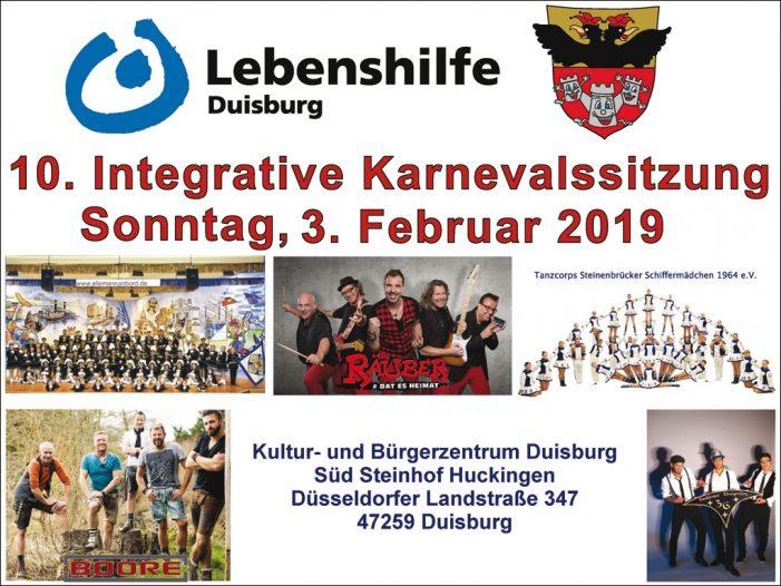 """Duisburg: Restkarten für die  """"10. Integrative Lebenshilfe-Karnevalssitzung"""" im Steinhof"""