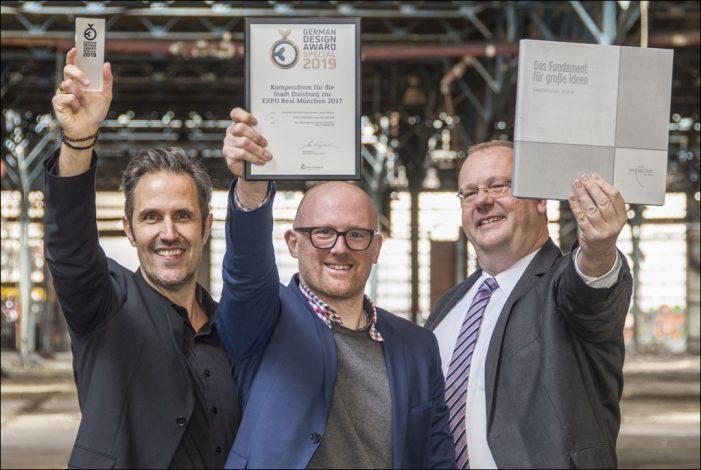 """Duisburgs Oberbürgermeister Sören Link gratuliert Werbeagentur """"h2m"""" zum German Design Award"""