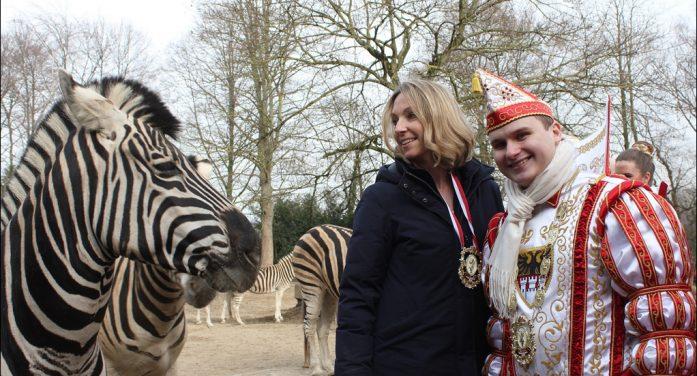 Karnevalsprinz Kevin I. besuchte den Zoo Duisburg: Zebraherde ging mit der Prinzencrew auf Tuchfühlung