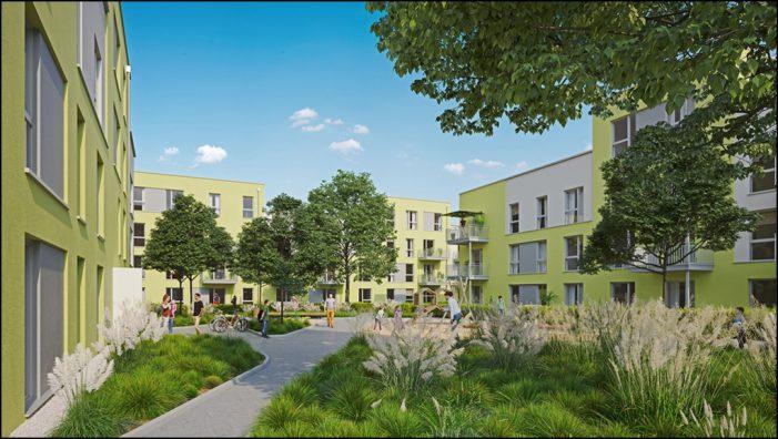 Vierlindenhöfe in Duisburg: Bau der GEBAG-Klimaschutzsiedlung schreitet voran