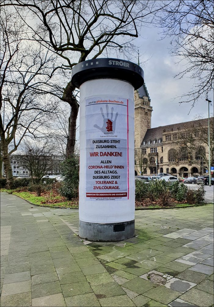 """Bündnis für Toleranz und Zivilcourage dankt """"Corona-Helden*innen des Alltags"""" in Duisburg"""